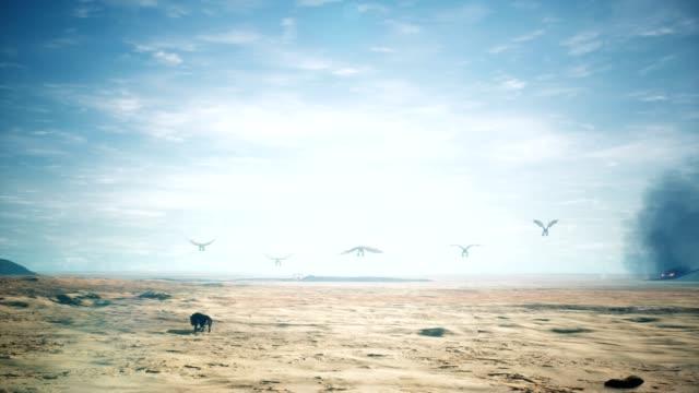 smoki latające nad ogromną pustynią animacji 3d fantasy tło - smok postać fikcyjna filmów i materiałów b-roll