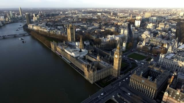 Dramatic Aerial Flight Over London Big Ben Houses of Parliament in Westminster video