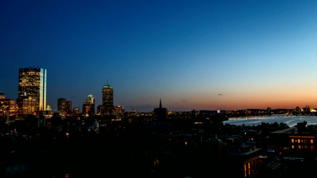 Dramatic and Colorful Sunset Timelapse of the Boston City Skyline Along the Charles River. video