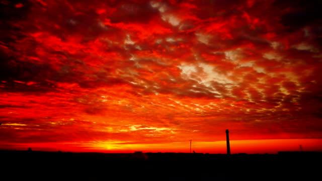 Dramatic city sunrise video