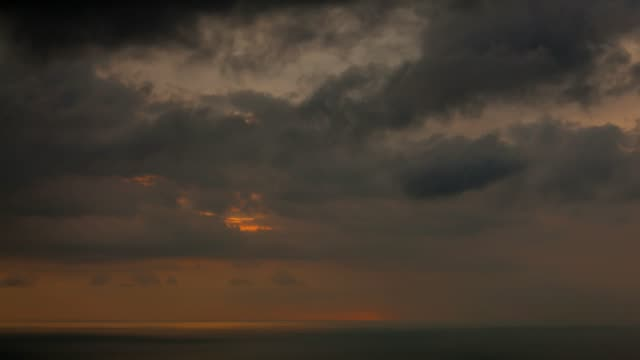 Dramatic clouds rolling over tropical sea 4K Time lapse