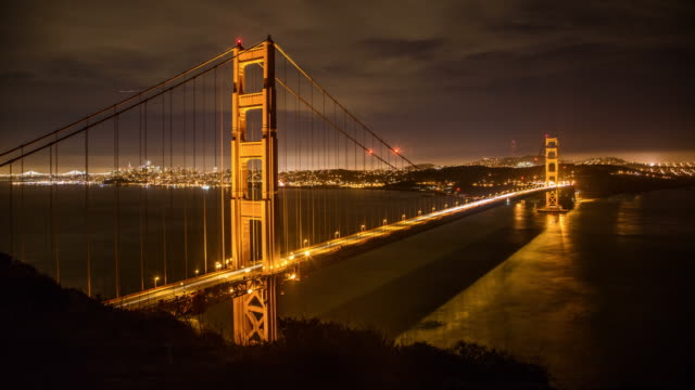 Dramatic Golden Gate Bridge at Night video