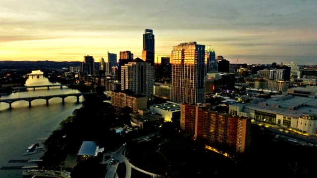 Dramatic High Contrast Sunset Aerial Drone View Austin Texas Skyline Cityscape Fly Over Downtown Capital City video