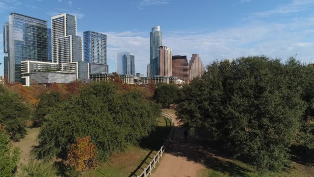 Dramatic Rising View of Austin City Skyline on Autumn Day video