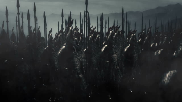Dramatic Scene of Elves Standing in a Battle Formation Ready for War