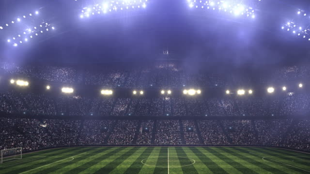 Dramatic soccer stadium full of spectators Full 3d modelled and animated soccer stadium with lensflares and fog floodlit stock videos & royalty-free footage