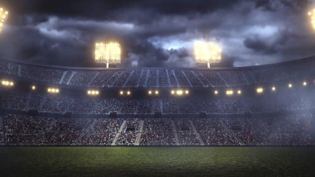 Dramatic soccer stadium full of spectators Full 3d modelled and animated soccer stadium with lensflares and fog floodlight stock videos & royalty-free footage