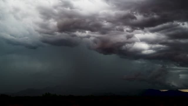dramatic southeastern arizona monsoon thunderstorm - monsone video stock e b–roll