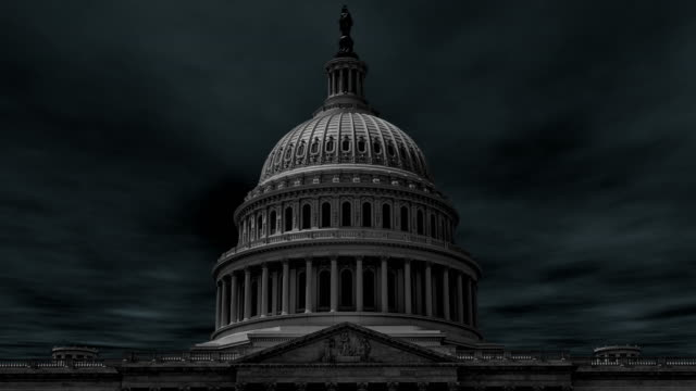 Dramatic storm clouds over the dome of the United States Capitol building in Washington D.C