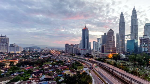 Dramatic sunrise at Kuala Lumpur city. Moving and changing color clouds. Aerial view. video