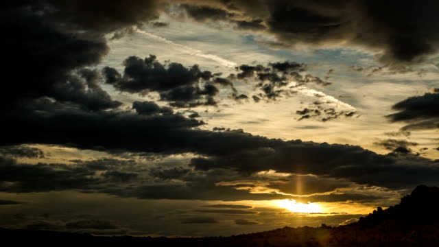 Dramatic Sunset Clouds over California Desert: Timelapse video