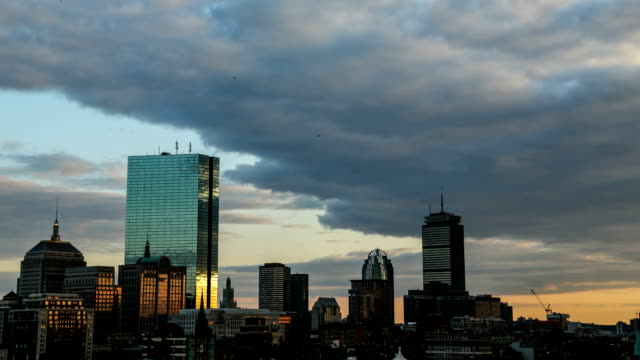 Dramatic Sunset Timelapse of the Boston City Skyline Along the Charles River. video