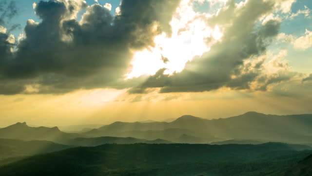 Dramatic Sunset Timelapse With Clouds And Light Rays video