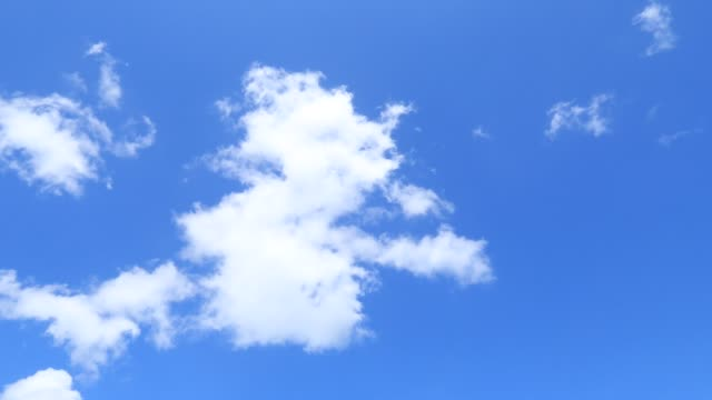 Dramatic white clouds slowly moved on beautiful sunny clear blue sky background
