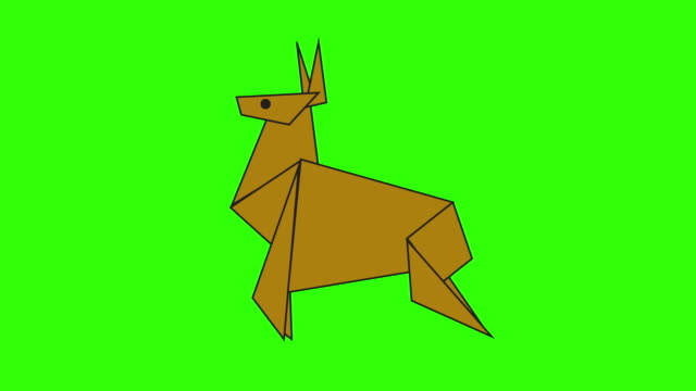 Draw a green background with a theme of paper deer.