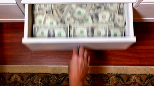 Draw Full of Hidden US Dollar Bills Money video