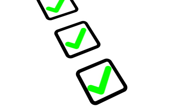 Drawing a green check in a black square checkbox Drawing a green check in a black square checkbox on white background. Symbolizing right. Motion Graphics. survey icon stock videos & royalty-free footage