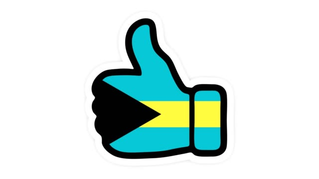 Drawing, animation is in form of like, heart, chat, thumb up with the image of Bahamas flag . White background