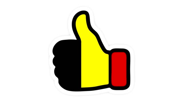 . Drawing, animation is in form of like, heart, chat, thumb up with the image of Belgium flag . White background