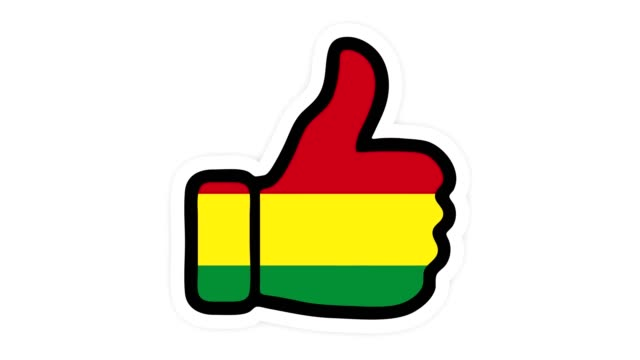 Drawing, animation is in form of like, heart, chat, thumb up with the image of Bolivia flag . White background