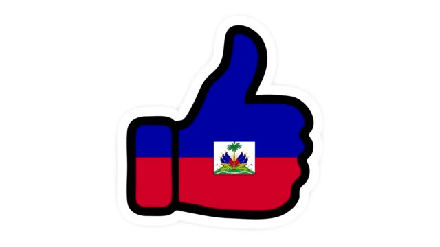 Drawing, animation is in form of like, heart, chat, thumb up with the image of Haiti flag . White background - vídeo