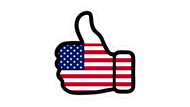 Drawing, animation is in form of like, heart, chat, thumb up with the image of USA flag . White background