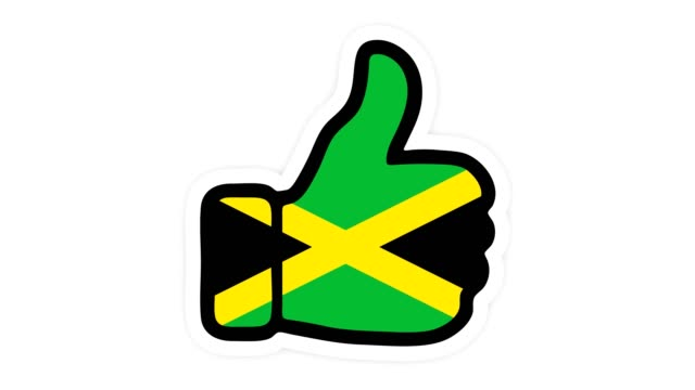 Drawing, animation is in form of like, heart, chat, thumb up with the image of Jamaica flag . White background