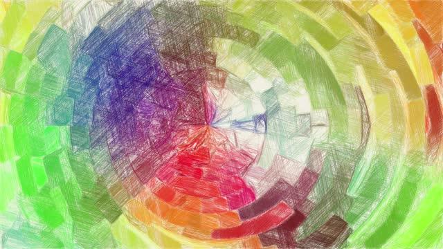 disegno colore di sfondo astratto - matita colorata video stock e b–roll