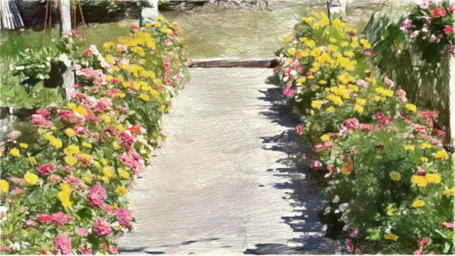 drawing color of flower garden