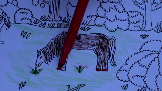 Drawing In Coloring Book Stock Video Download Video Clip Now Istock