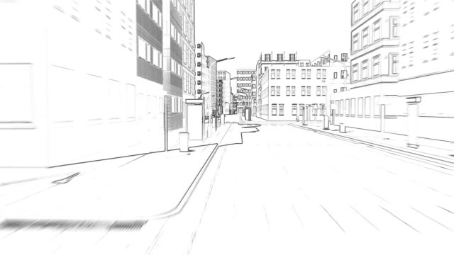 drawing of a small town concept of a building 4k - набросок стоковые видео и кадры b-roll