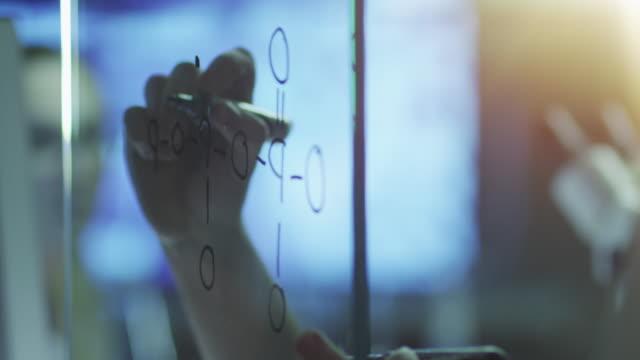 Fórmula química orgânica de desenho em vidro com marcador. - vídeo