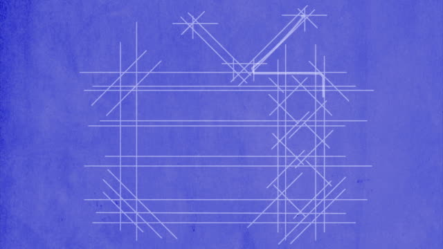 TV drawn on blueprint. With flickering screen. video