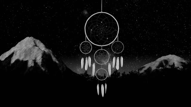 dreamcatcher on a night sky 3d illustration render dreamcatcher on a night sky timelapse forest and mountain background 3d illustration render looped animation hippie stock videos & royalty-free footage