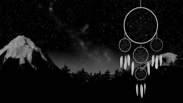 stockvideo's en b-roll-footage met dreamcatcher op een nacht hemel achtergrond 3d illustratie maken - sleeping illustration