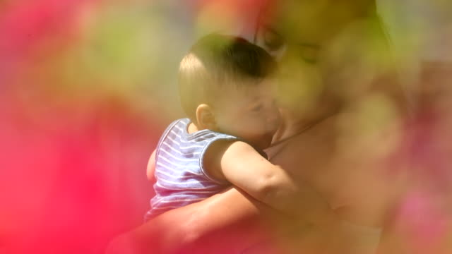 dreamy beautiful scene of mother holding baby son in tender loving care - 0 11 mesi video stock e b–roll