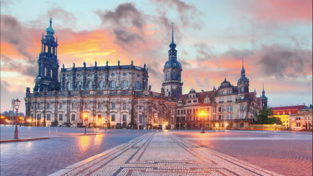 Dresden, Germany at sunset, Time lapse video