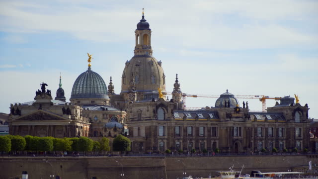 Dresden germany old town skyline on the elbe river video