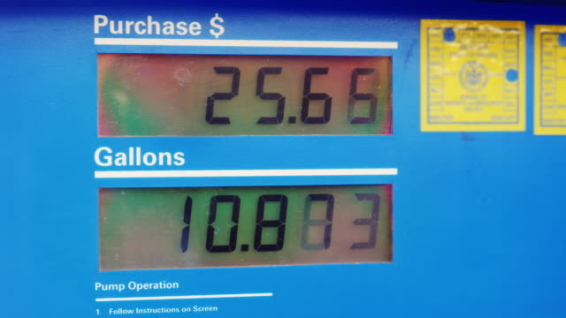 Dressed gasoline. Display shows the amount of fuel in gallons and price in dollars video