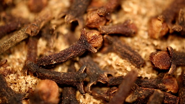 Dried cloves used in medicine and aromatherapy, flavorful spice for dishes video