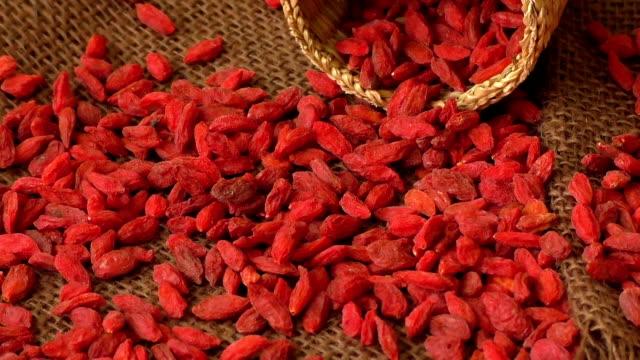 Dried goji berries. Lycium chinense video