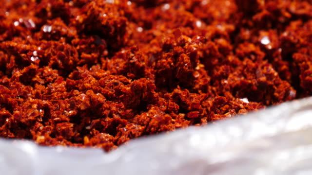 Dried korean red pepper powder video