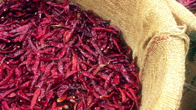 Dried Red Chili Peppers in Sack video