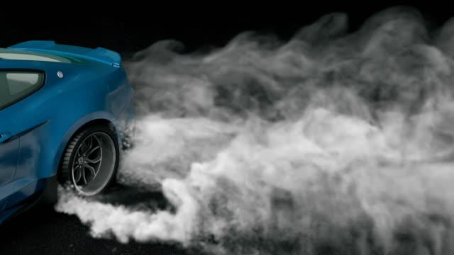 asfaltüzerinde drift spor araba. yanan lastiklerden yoğun duman. döngü 3b animasyon. - burnout stok videoları ve detay görüntü çekimi