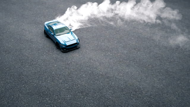 Drift sports car on the asphalt. Thick smoke from burning tires.