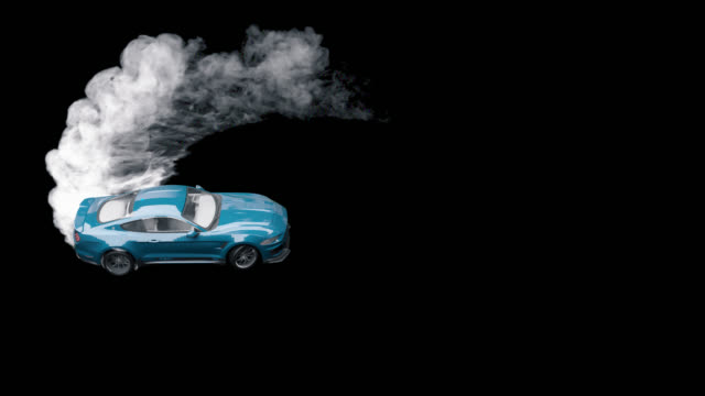 Drift sports car on the asphalt. Thick smoke from burning tires with alpha channel.