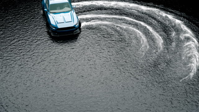 Drift sports car on water on wet asphalt. Splash and foam from rotating wheels.