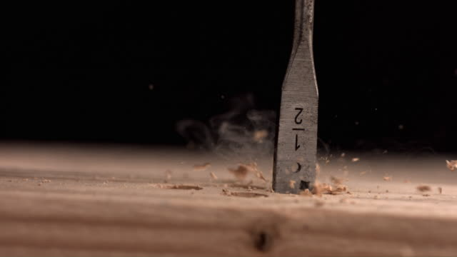 Drill bit spinning, slow motion video