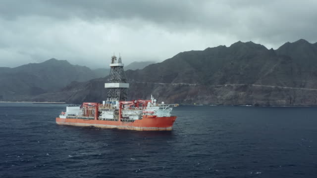 Drill ship during exploration and drilling of oil and natural gas in sea waters