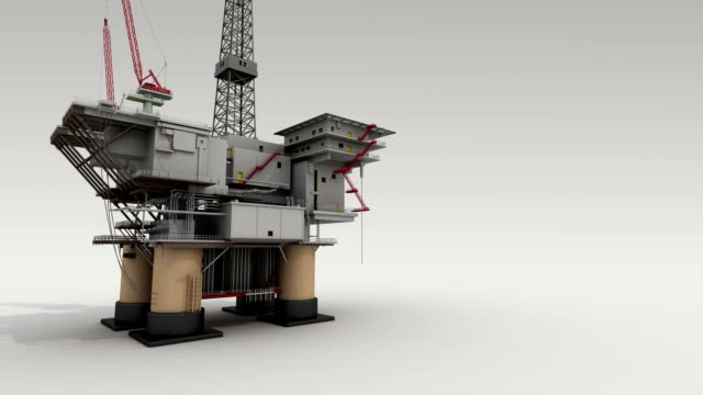 Drill ship on white ground for presentation, side view. video